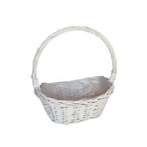 Cos oval rattan alb+toarta