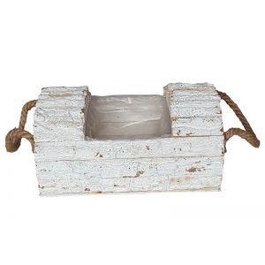 Cos tip buturuga lemn alb