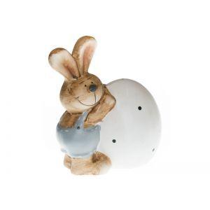 Iepuras cu ou ceramica color 11 cm
