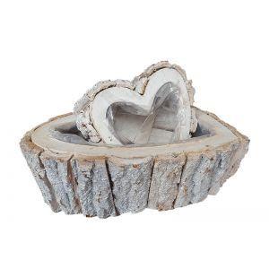 Set 2 cos tip inima lemn natur