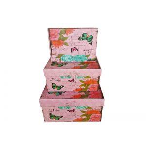 Set 3 cutii dreptunghiulare model floral+fluturi