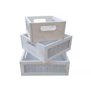 Set 3 cutii patrate dantelate alb