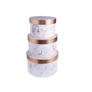 Set 3 cutii rotunde marmorate