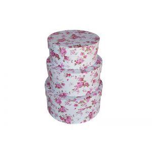 Set 3 cutii rotunde model floral