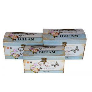 Set 3 cutii tip cufer model floral